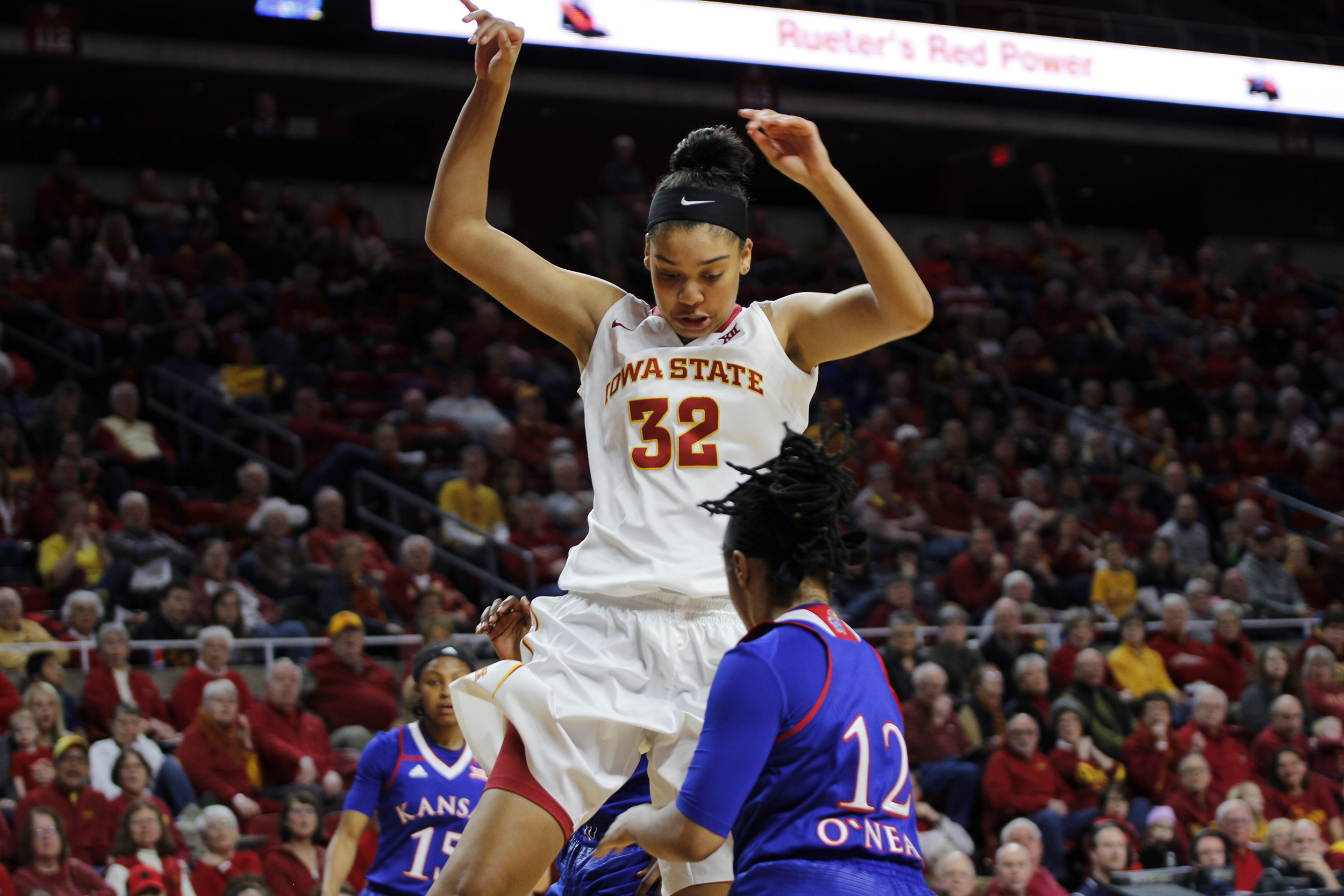 the latest 60fc5 4d87c Iowa State sophomore Meredith Burkhall has the ball poked out of her hands  as she goes up for a layup against Kansas in Hilton Coliseum on Jan. 8,  2017.